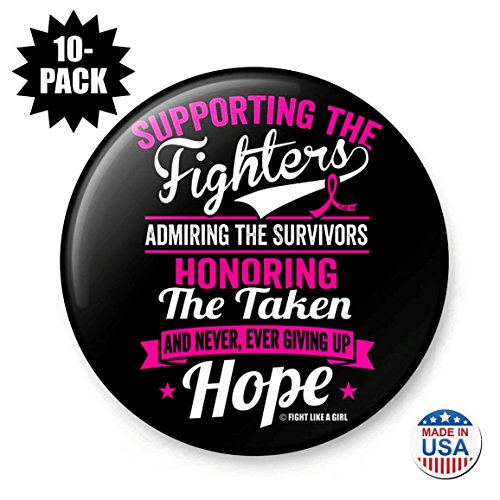 Fight Like a Girl Supporting Admiring Honoring Round Buttons/Pins/Badges for Breast Cancer Awareness, 10-Pack (Pink - Breast Komen