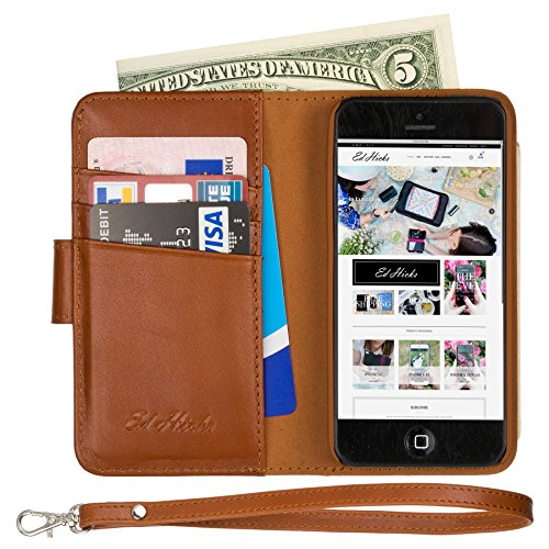 (The ONLY iPhone SE Wallet Folio Case with Full Width Bill Pocket. Luxury Nappa Soft Genuine Leather All in One iPhone 5S Case with 2 Pockets, 3 Card Holder Slots. Strap. The Royale in Vintage Brown)