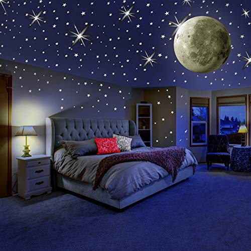 MAFOX Glow in The Dark Wall or Ceiling Stars with Moon Stickers – Luminous Decal Stickers for Simulated Moon Effect at Night – Ideal Kids Decor or Adults – Perfect Gift Kids Boys Girls - Kids Wallpaper