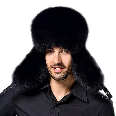 db8009038bb22 YAHUIPEIUS Faux Fur Bomber Hat Russian Ushanka Hat Tapper Hat with Earflap  Black