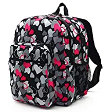 Telosports Lightweight Casual Shool Backpack Outdoor Travel Daypack (Pink hearts)