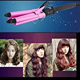 3 Barrel Waver Iron,Mjun® High Quality Fast Heating Led Display Long Hair Waver Curler Professional Ceramic Curling Iron (22mm diameter )