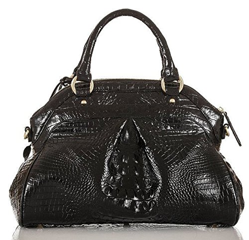 (Brahmin Louise Rose Satchel Handbag Croc Embossed Leather Black)