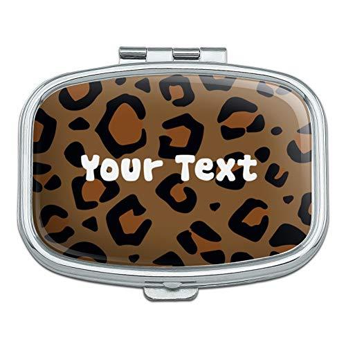 Personalized Custom 1 Line Leopard Animal Print Rectangle Pill Case Trinket Gift Box