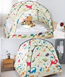 CAMP 365 Child's Indoor Privacy and Play Tent on Bed Sleep Cozy in Drafty Room (Double, Dinosaur)