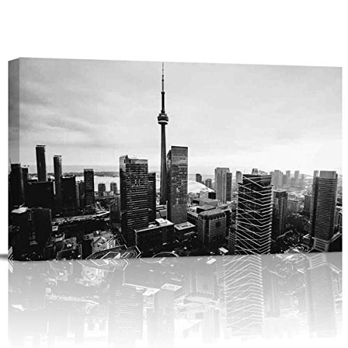 Canvas Wall Art Pictures Canvas Artwork Prints, Black and White, Toronto City Buildings Landscape Contemporary Decor for Home Living Room Bedroom Decoration Office Framed Ready to Hang 16''x32''