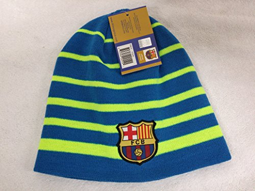 Fc Barcelona Striped Skully Cap Beanie Hat New with Tags One Size Fits ()