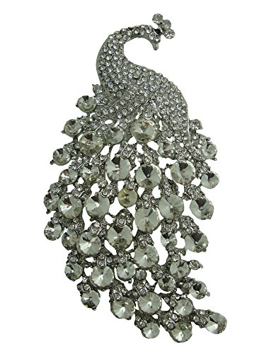 u Gorgeous Peacock Crystal Rhinestone Brooch Pins (White) ()
