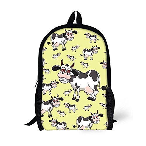 CHAQLIN Basics Teens School Bags Cartoon Cows Printing-Goose Yellow Ethnic Stationery