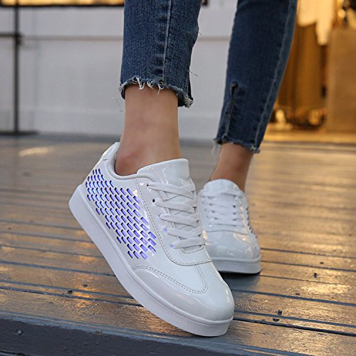 Ubella Barn Flickor Pojkar Lyser Sneakers Fiberoptiska Kvinnor Ledde Skor Uppladdningsbara Blinkande Tränare Vit