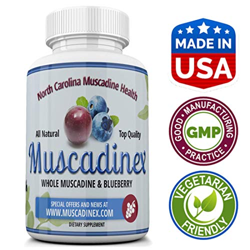 Brain Health - Muscadinex MX2. Blueberry Plus Muscadine. 60x 500Mg Vegetarian Capsules. Made in The USA. Natural Resveratrol and Pterostilbene.