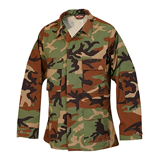 Tru-Spec Nylon-Cotton Ripstop BDU Jacket, Woodland, Large, Regular Length - Woodlands The Shopping