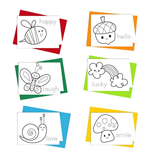 Coloring Cards: Happy Go Lucky Stationery Set - Greeting Cards for Kids to Color Designed for Children to Practice Letter Writing - 100% Recycled Note Cards with Envelopes - Blank Inside - Made in USA