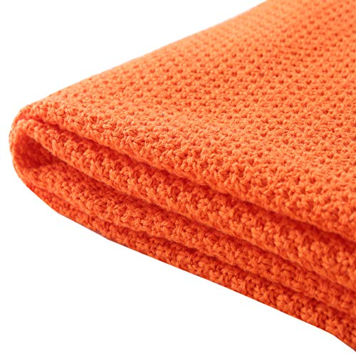 Treely 100% Cotton Cable Knit Throw Blanket for Couch Chair Bed Home Decorative,Soft & Cozy Knit Throws(Orange,50