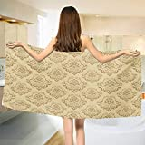 Chaneyhouse Beige,Bath Towel,Regular Damask Patterns Ornate Antique Lace Floral Patterns Oriental Style Design Art,Bathroom Towels,Beige Size: W 27.5'' x L 55''