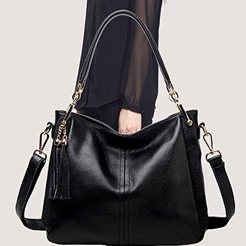 hombro de de Bolso de bolso la mujer La la SANSJI lona Negro la playa de de hombro superiores Bolso de Bolsos Bolsos de asas bolsa hombro de compras 5qHwSZ