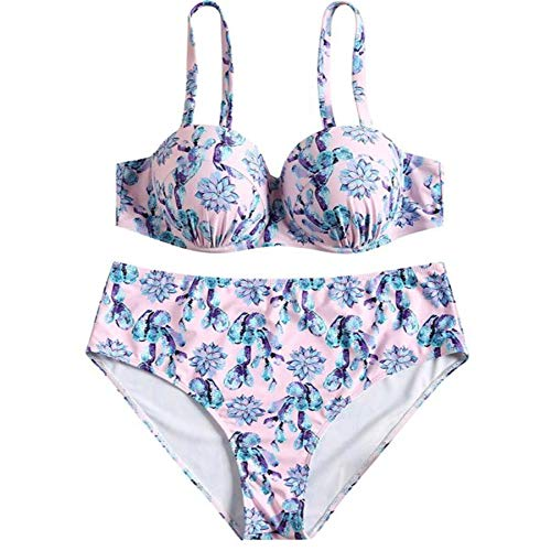 Vintage High Waist Floral Bikini Set for Womens Strappy Padded Push Up Bathing Suit Beachwear Swimwear (XL, Pink)