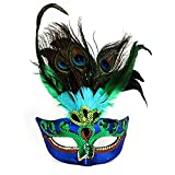Best Feather Masks - Womens Peacock Feather Mask for Masquerade Costume Party Review