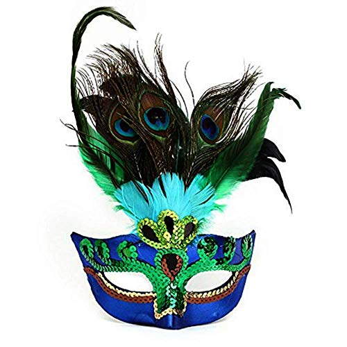BlueGarlic Womens Peacock Feather Mask for Masquerade Costume Party Halloween Cosplay Accessory -