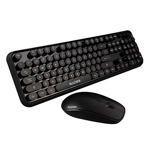 Vintage Mouse - SADES Keyboard Mouse Sets, V2020 Round Retro Style Key Cap Wireless Keyboard Mouse Sets