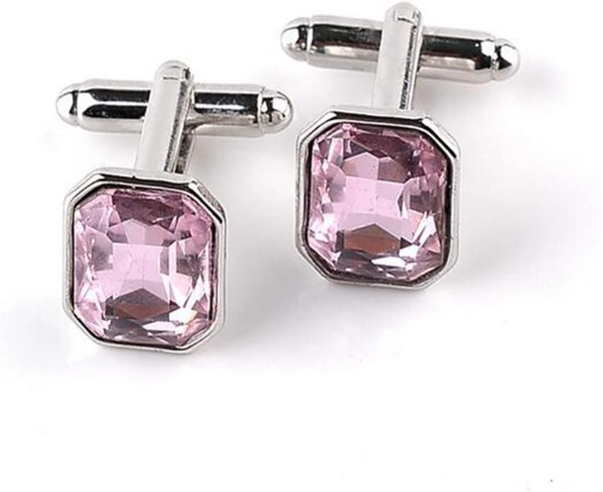 Pink ,With a Jewelry Bag Scrox 1Pair Cufflinks Pink Diamond Style Business Wedding Cufflinks Mens Shirt Suit Accessories for Christmas Birthday Gift Wedding
