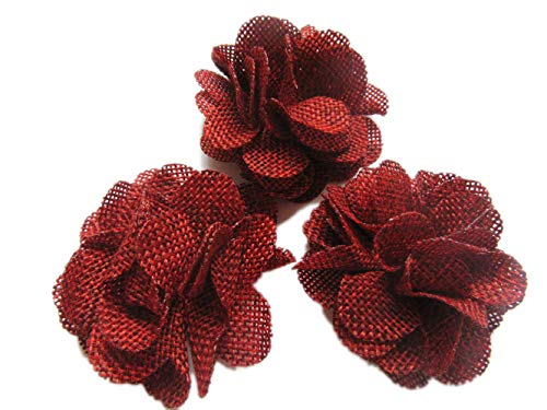 73e71dc585230 YYCRAFT 15pcs Burlap Flower Roses,3D Fabric Flowers for Headbands Hair  Accessory DIY Crafts/Wedding Party Decorations/Scrapbooking ...
