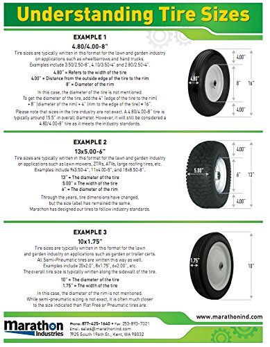 Marathon 13x5.00-6'' Pneumatic (Air Filled) Tire on Wheel, 3'' Hub, 3/4 Bushings by Marathon Industries (Image #3)