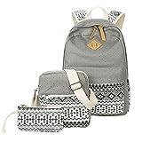 Ecokaki Canvas Backpack Set Shoulder Bag Bookbag School Bag Travel Bag for Girls Gray