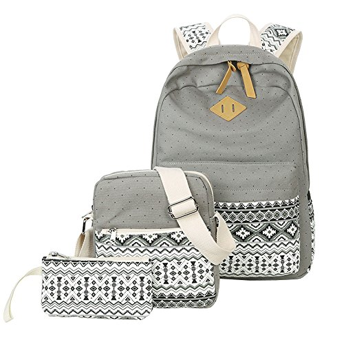 Ecokaki Canvas Backpack Set Shoulder Bag Bookbag School Bag Travel Bag for Girls Gray by Ecokaki