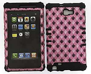 SAMSUNG GALAXY NOTE 1 CASE SAINTS FLEUR DE LIS LIGHT PINK HEAVY DUTY HIGH IMPACT HYBRID COVER BLACK SILICONE SKIN I717