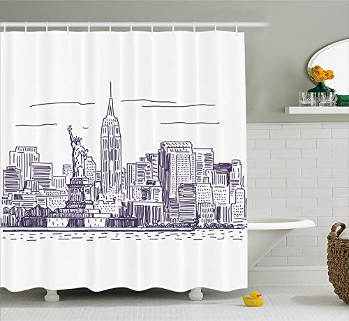 Ambesonne New York Shower Curtain, Sketchy Simple View of NYC Statue of Liberty Freedom Symbol Ellis Island Print, Fabric Bathroom Decor Set with Hooks, 75 Inches Long, Purple White