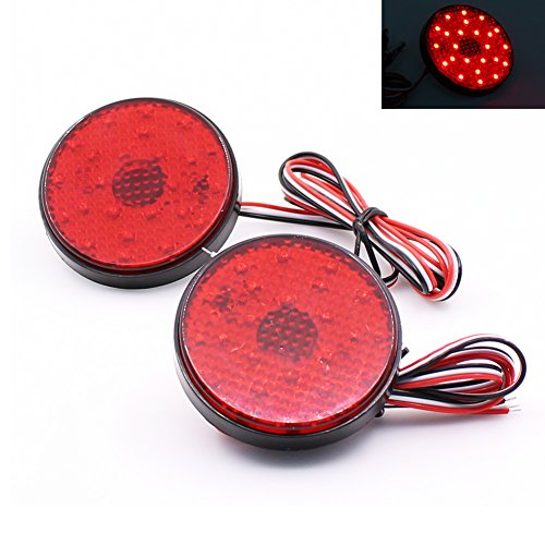 Paision Red Lens LED Rear Bumper Reflector Tail Stop Light for Toyota Sequoia Highlander Zrr70 Noah ()