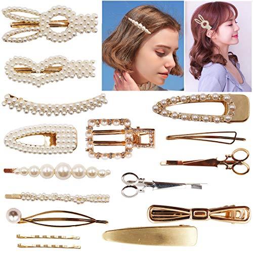 16PCS Faux Pearls Hair Clips Hairpins Sparkly Rhinestones Hair Barrettes Gold Bobby Pins Fashion Hair Accessories for Girls Women Lady