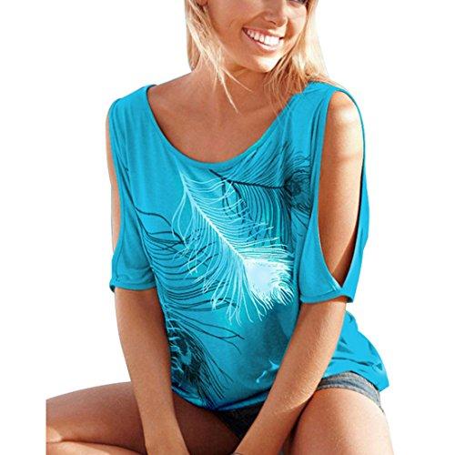 Scoperte con Yefree Donna da da Maglietta Donna Stampata Maglietta da Maniche Allentata a Donna Maglietta Corte Maglietta Spalle OBOF4nq