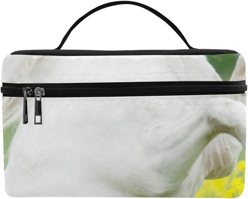 Bolsa de asas blanca con estampado de flores amarillas con diseño de almuerzos Bolsa de asas para almuerzo Almuerzo aislado para enfriador de almuerzo para mujeres/hombres/picnic/canotaje/pla