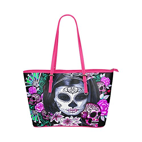 Lady With Skull Calaveras Makeup Hip Water Resistant Small Leather Tote For Women Bags Sugar Skull #8 (5 colors)