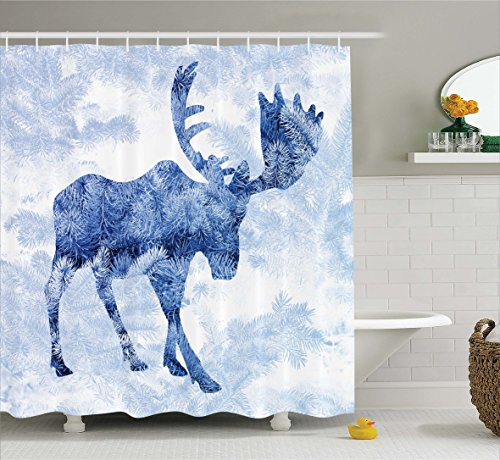 Moose Shower Curtain Set by Ambesonne, Blue Pattern Pine Needles Spruce Tree with Antlers Deer Family Snow Winter Design Horns, Fabric Bathroom Decor with Hooks, 70 Inches, Blue White