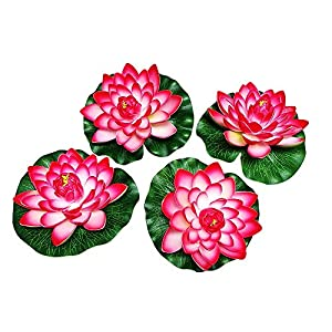 Nice 4pcs Large Artificial Red Floating Lotus Home Garden Pond 55