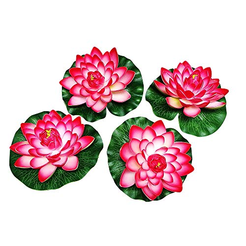 Nice 4pcs Large Artificial Red Floating Lotus Home Garden Pond