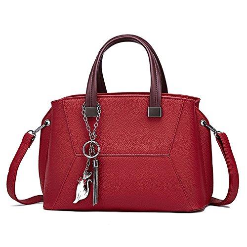 Shopping multifunzione Borsa tracolla Donna a Borsa tracolla pelle da a Borse donna Borse Messenger tracolla rosso Moda a in WAAqwYvf