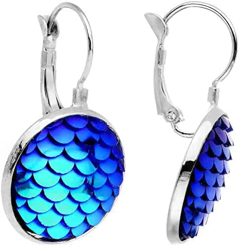 c5666f657 Body Candy Handcrafted Iridescent Blue Mermaid Scale Leverback Pierced  Earrings