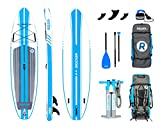 iROCKER All-Around Inflatable Stand Up Paddle Board 11' Long 32'' Wide 6'' Thick SUP Package (White/Blue Stripe 2019)