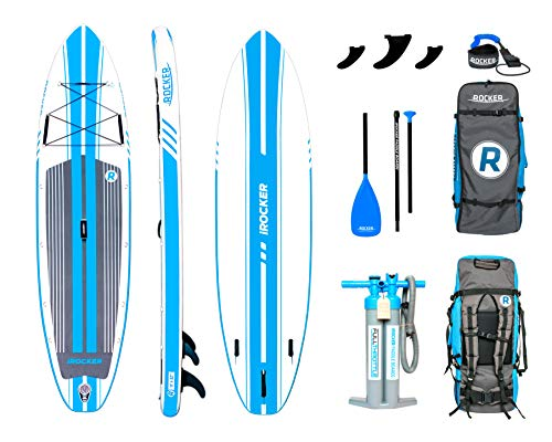 """iROCKER All-Around Inflatable Stand Up Paddle Board 11' Long 32"""" Wide 6"""" Thick SUP Package 