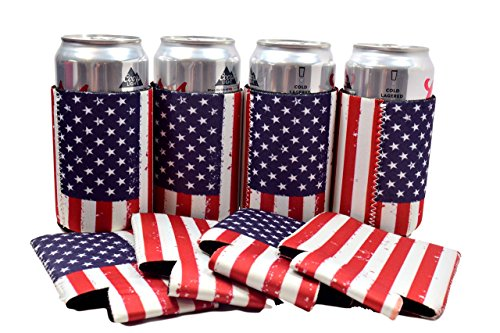 QualityPerfection 6 USA American Flag Neoprene Can Coolers Sleeves Party Pack Economy Bulk ,Beer Can Coolers ,Insulation with Stitches Perfect 4 Weddings,Events,Independence Day (6, USA Flag)