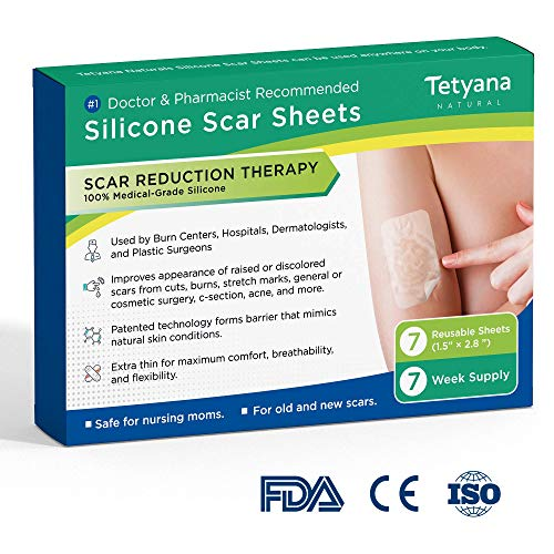 Medical Grade Silicone Scar Removal Sheets by Tatyana Naturals [7Pcs] Reusable, High-Performance Scar Cure for Stretch Marks, Surgery Scars, C-Section Scars, Acne Scars, Cuts and Burns