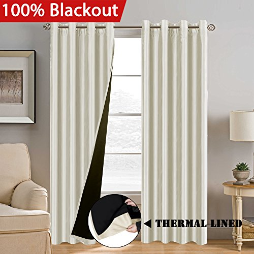 100% Blackout (2 Layers) Curtains Elegant Extra Long Lined Curtains Faux Silk with Natural Liner Panels Drapes, Thermal Insulated Window Treatment Grommet 2 Panels, Large Size 108 Inch - Ivory (Long 108 Drapes)