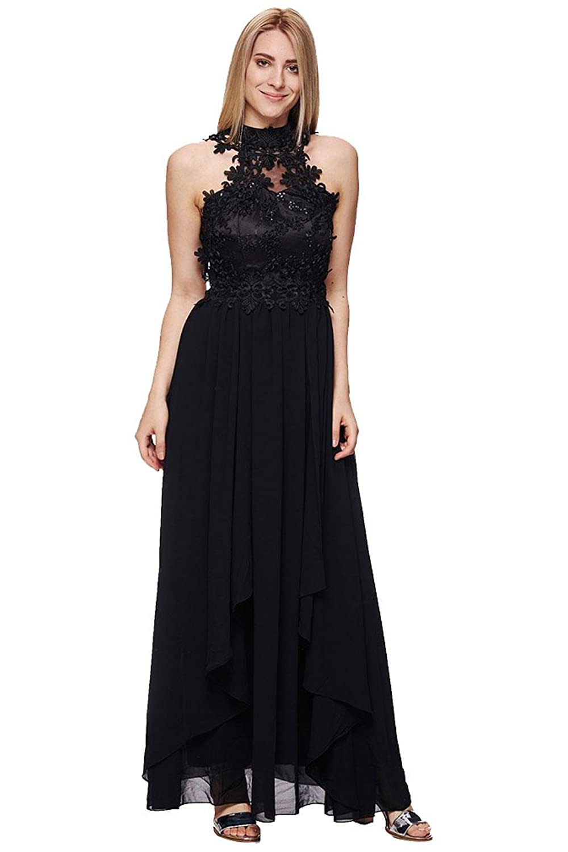 Luckystyle Women's Halterneck Dress Black Black (12) M