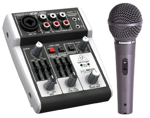 Behringer 302USB XENYX 2-Channel Compact Mixer with Samson R11 Hypercardioid Mic - Ideal for Travel by Behringer