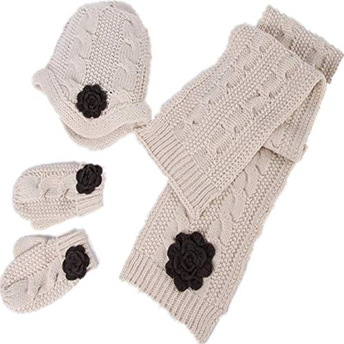 (Ahyuan Baby Girls Warm Cable Knit Hat Scarf mitten 3PC Accessory Set (Beige))