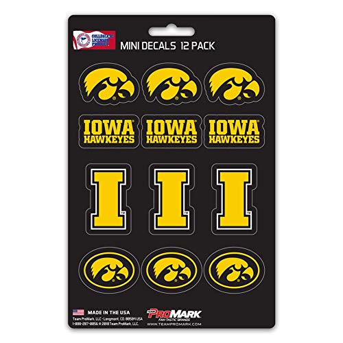 (ProMark NCAA Iowa Hawkeyes Decal Set Mini (12 Pack), Team Color, One Size )
